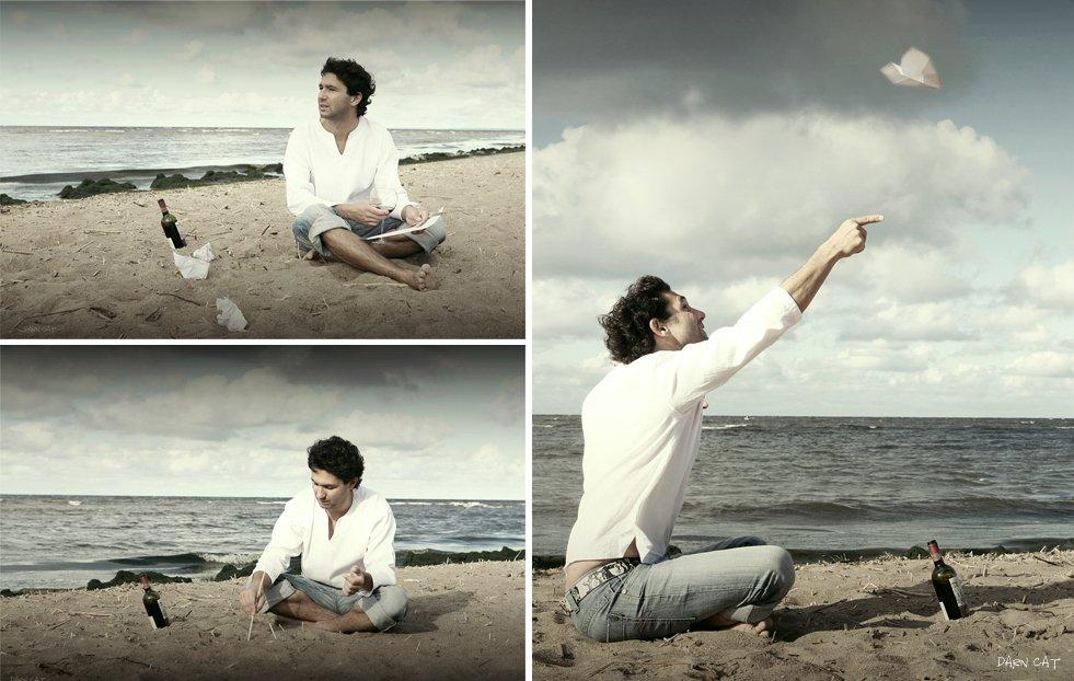 мужчина, берег, на, острове, робинзон, крузо, море, песок, бокал, вино, посылать, сообщения, ждать, ответ, Darn Cat