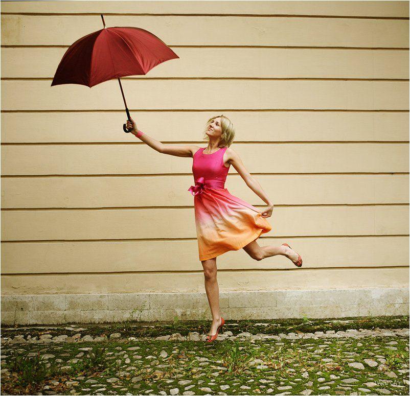 легкость, зонт, музыка, девушка, яркая, Darn Cat