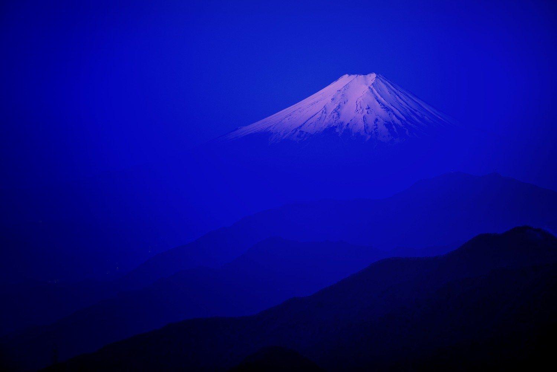 FUJI, MOUNTAIN, JAPAN, DAWN, SNOW, GLOW, MORNING, LANDSCAPE, LAYER, BLUE, SKY,, Takashi