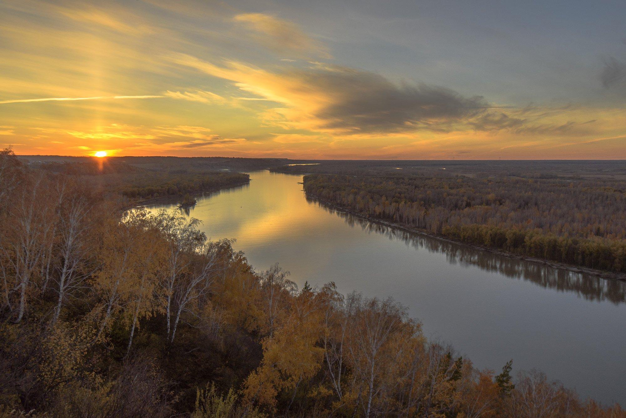 осень, облака, вечер, закат, пейзаж, природа, река, небо, Дмитрий Старостенков