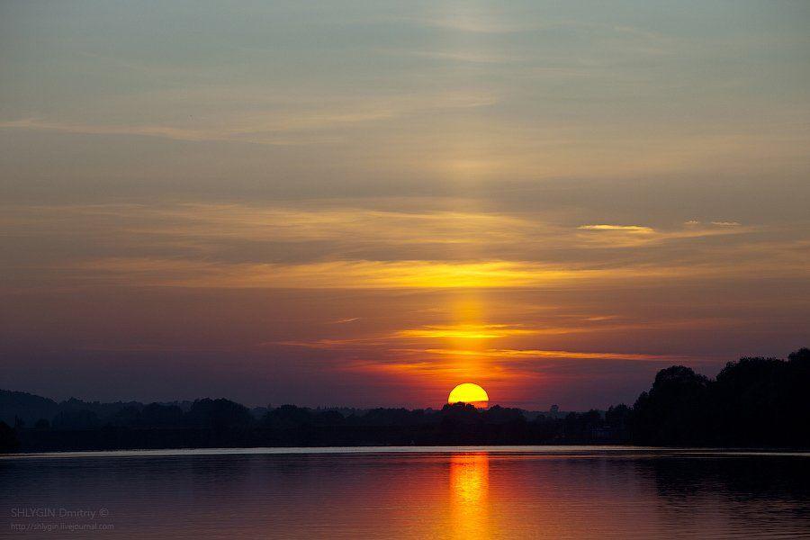 ока, закат, пейзаж, Shaman