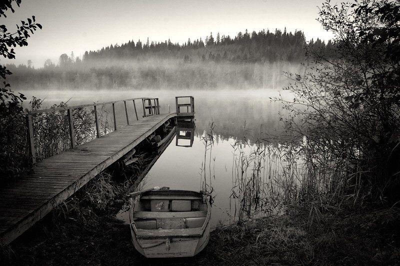 финляндия, страна, озеро, лес, вода, отражение, листва, дерево, лодка, пристань, весло, берег, рыбалка, утро, туман, dyadyavasya, Дмитрий dyadyavasya  Шамин