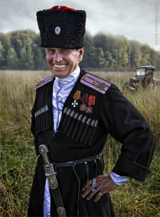 1916, форма, казак, офицер, ордена, старой, авто, кинжал, папаха, улыбка, Виктор Перякин