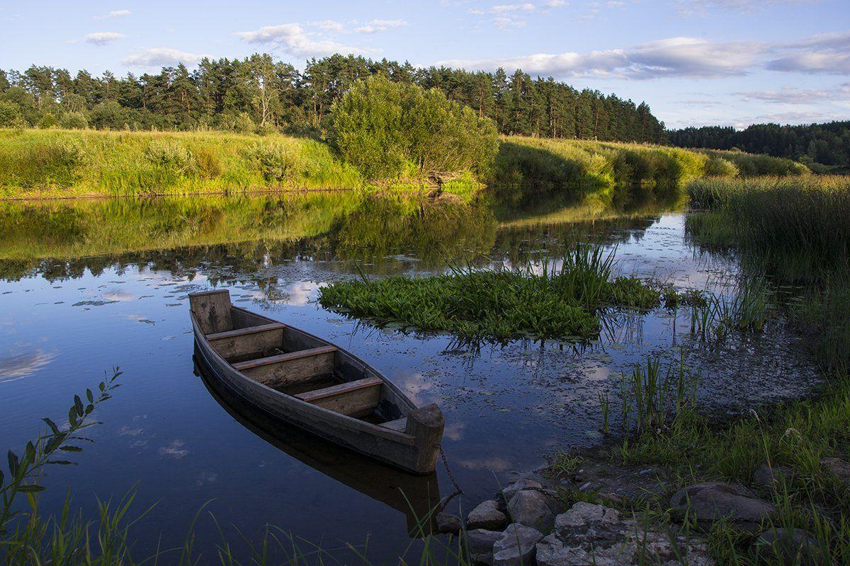 вечер, лето, лодка, природа, река, россия, смоленская область, угра, Денис Щербак