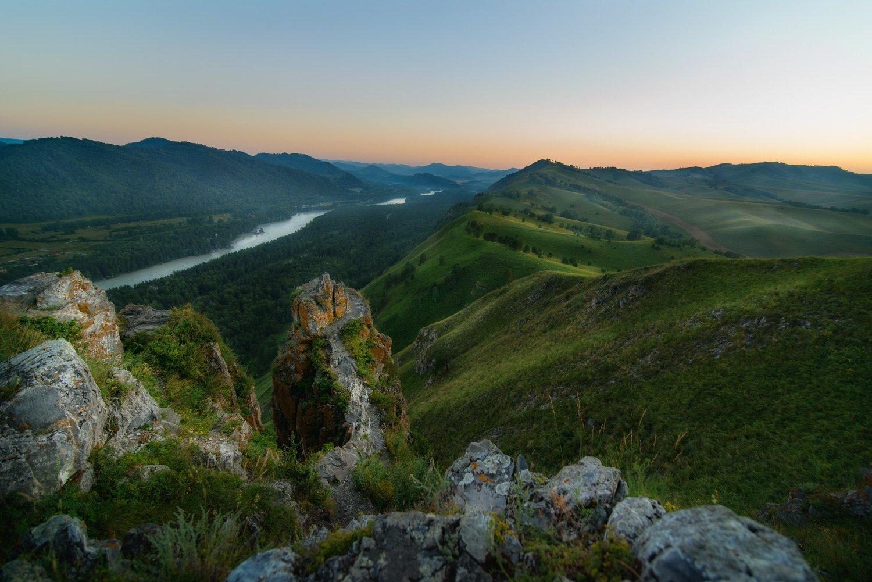 алтай, скалы, горы, закат, вечер, катунь, река, камни, лето, трава, Павел Силиненко