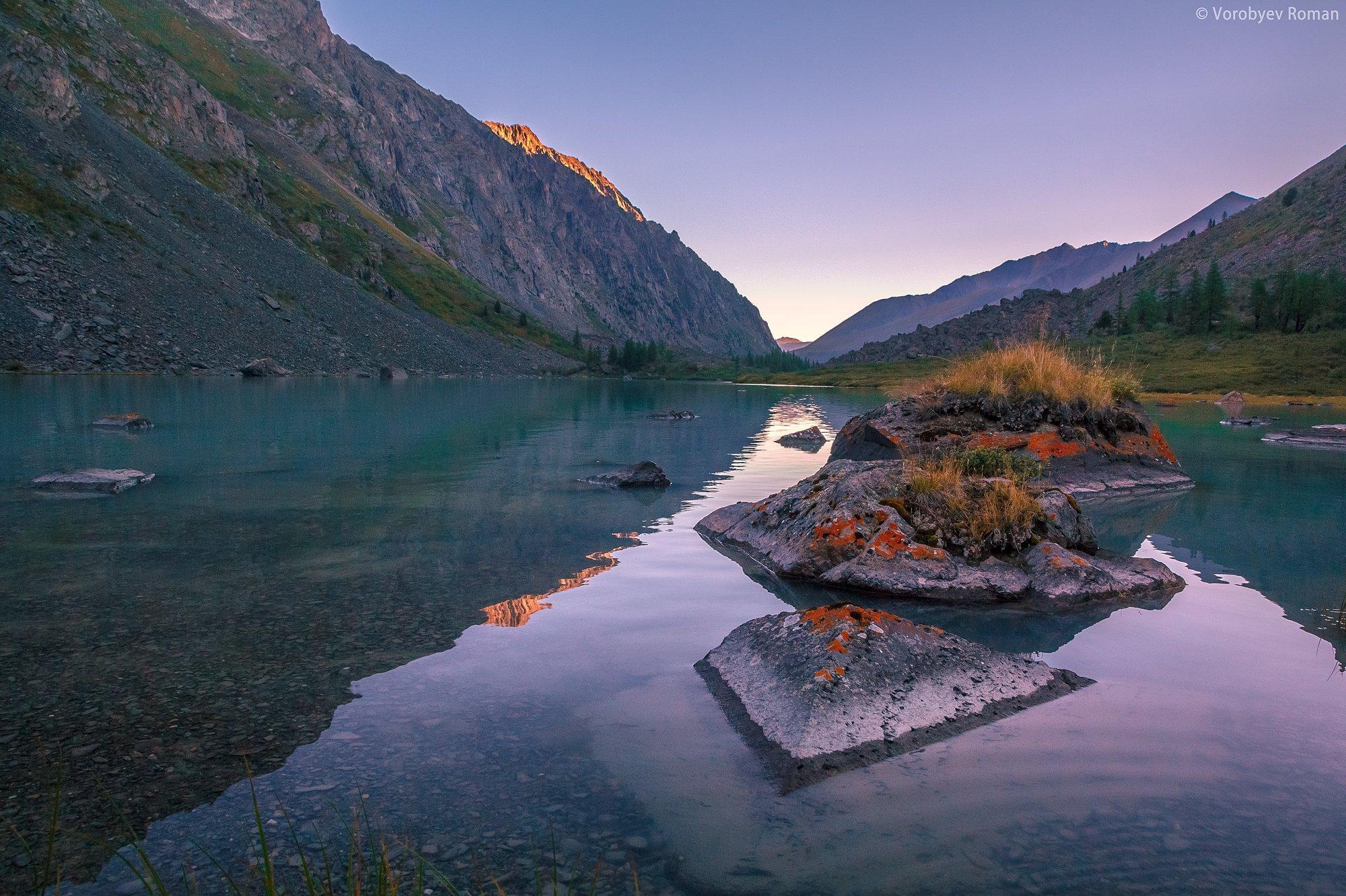 Алтай, Горы, Озеро, Отражение, Рассвет, Roman Vorobyev