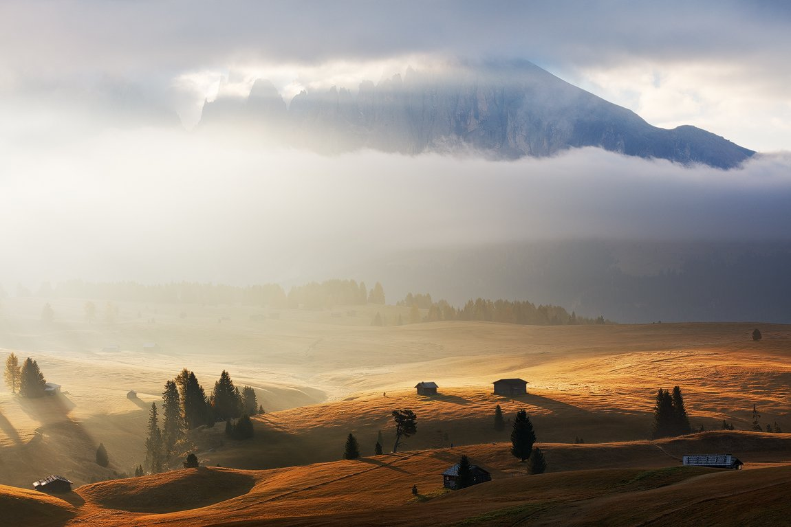 Autumn, Clouds, Dolomites, Europe, Fall, Fog, Huts, Light, Mist, Morning, Mountains, Peaks, Trees, Martin Rak