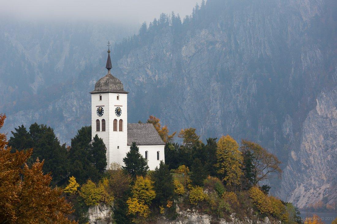 church, traunkirchen, austria, traunsee, morning, foggy, Nikita