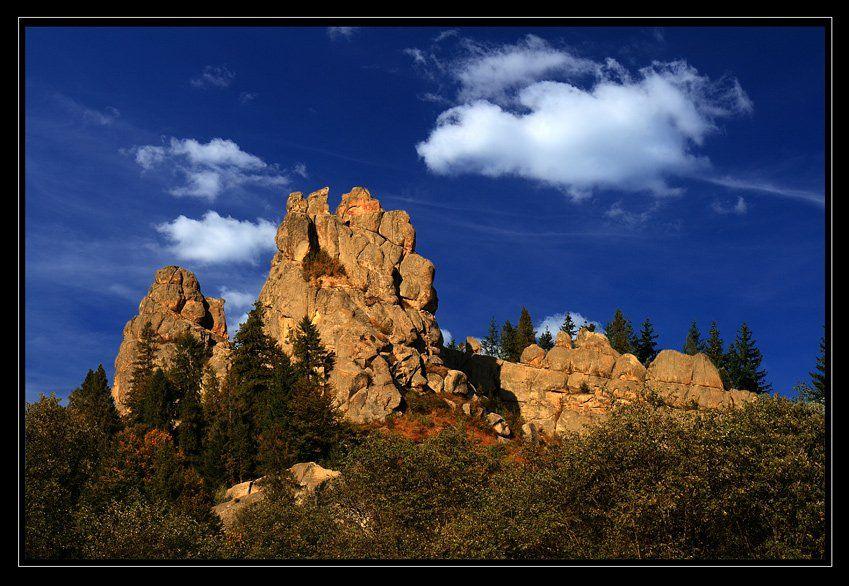 скалы, лес, облака, осень, Юрий