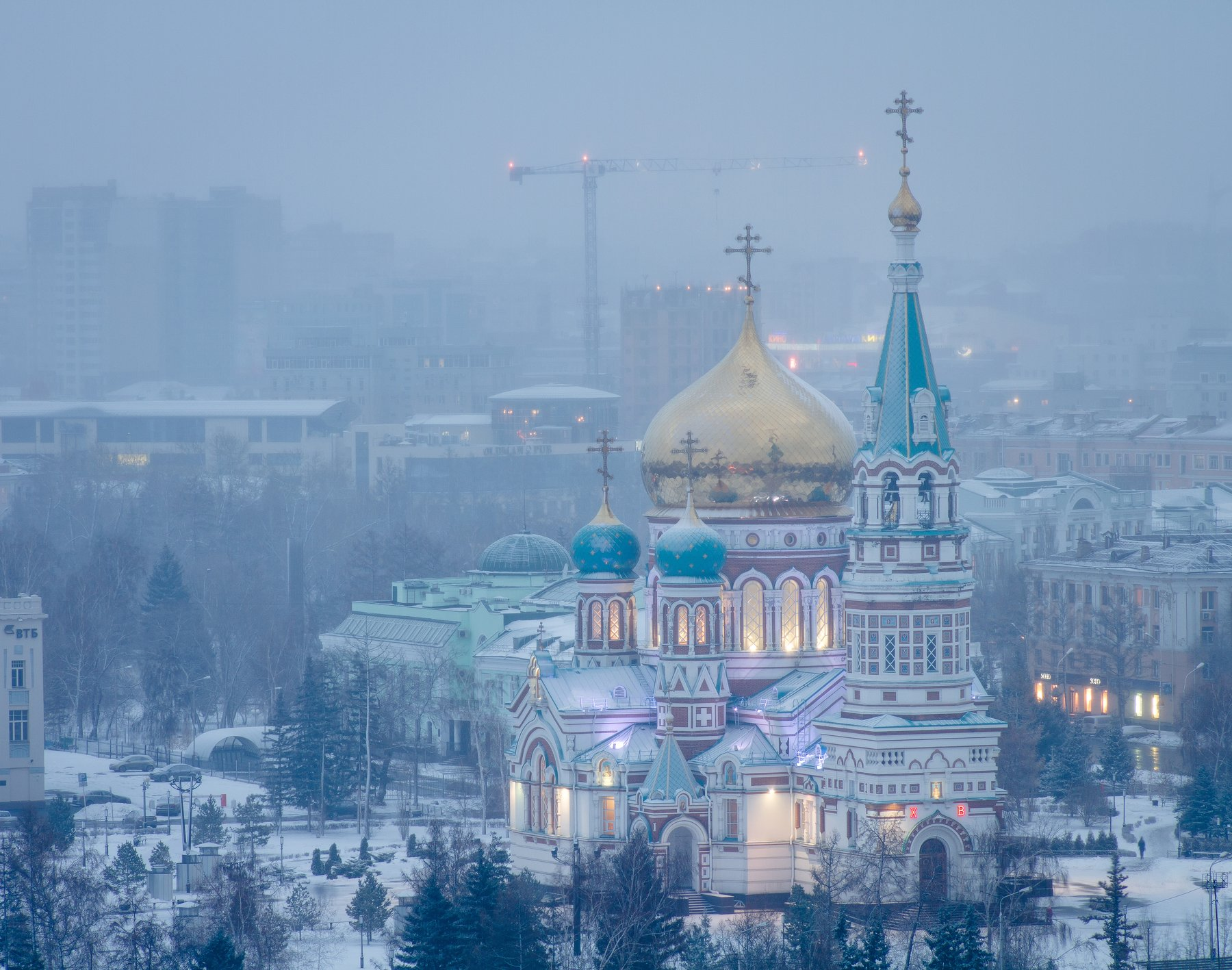 Омск, пейзаж, зима, снег, храм, церковь, Голубев Алексей