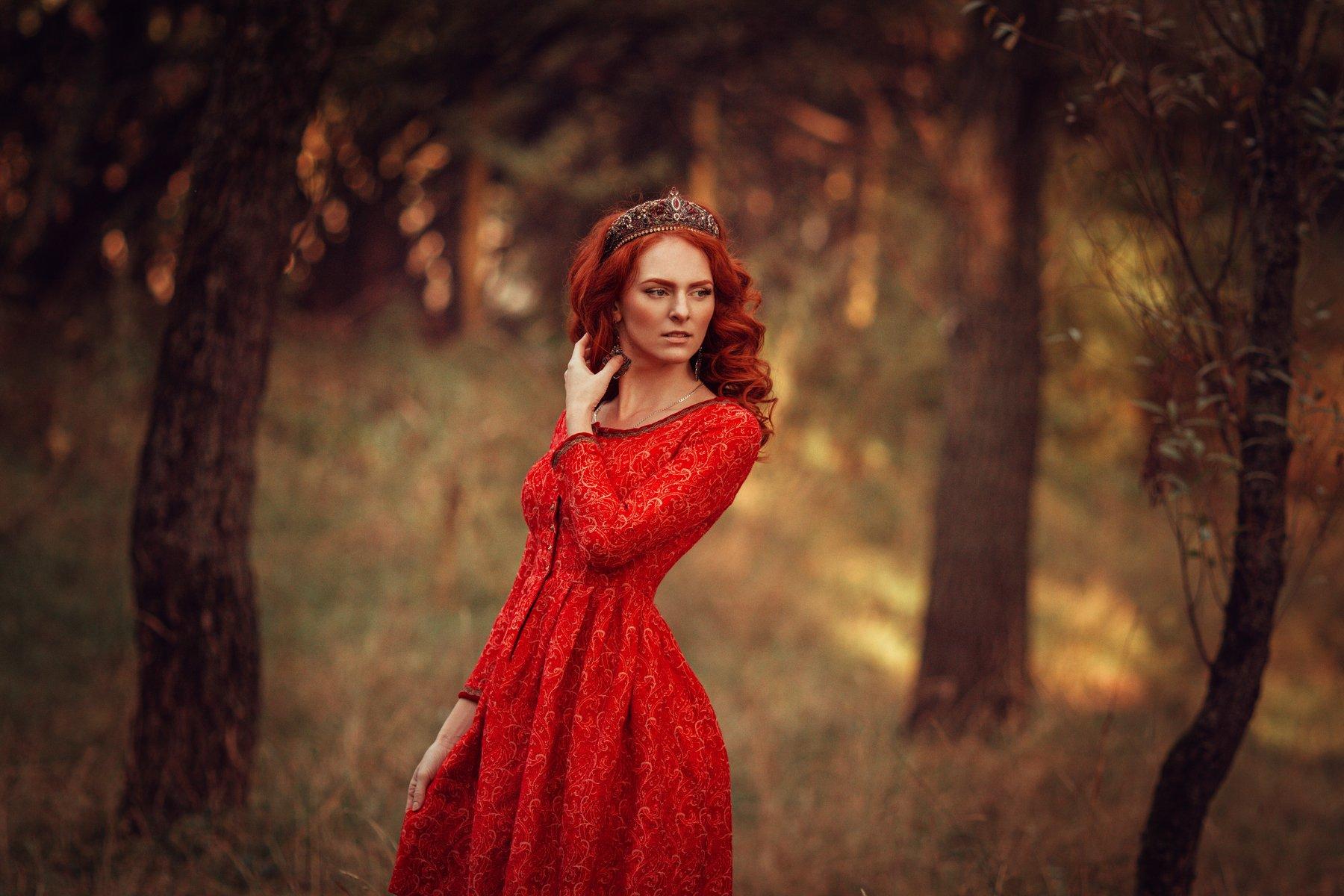 портрет, модель, осень, красный, природа, прическа, фотография, Liliya Nazarova