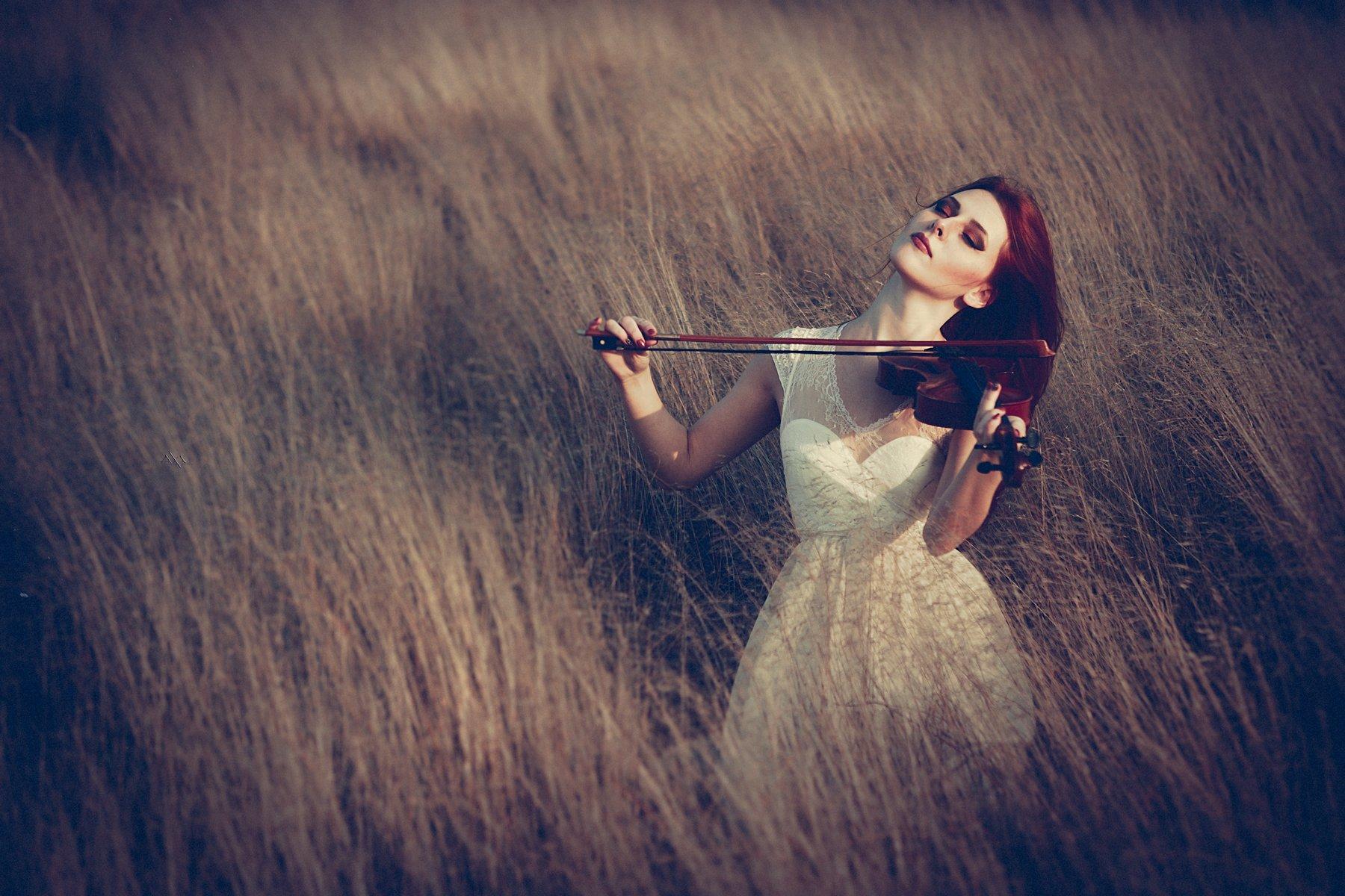 Autumn, Emotion, Mood, Music, Portrait, Violin, Wind, Woman, Руслан Болгов (Axe)