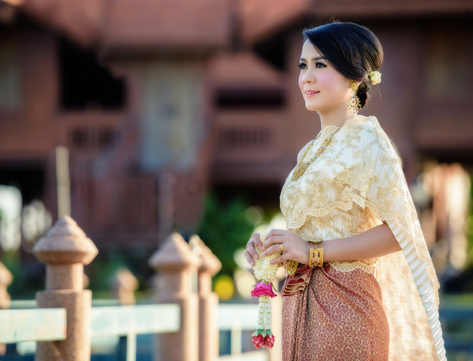 thai; woman; thailand; girl; outdoor; greeting; charming; attractive; ornament; cloth; jewelry; flower; tender; silk; culture; enchantress; buddhist; folk; dance; female; fashion; polite; fabric; portrait; elegant; outfit; nice; tradition; colorful; forma, Sasin Tipchai