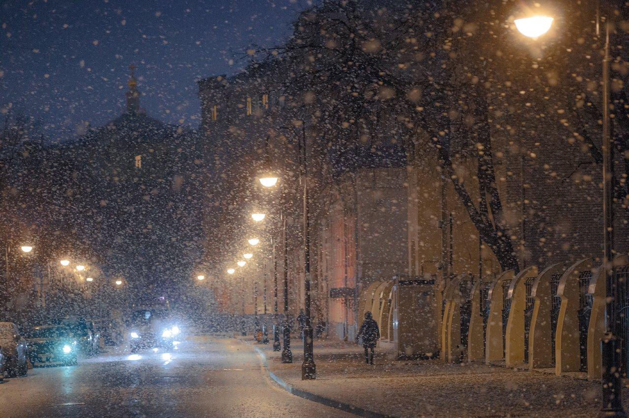 Вечер, Зима, Москва, Снег, Снегопад, Виктор Климкин