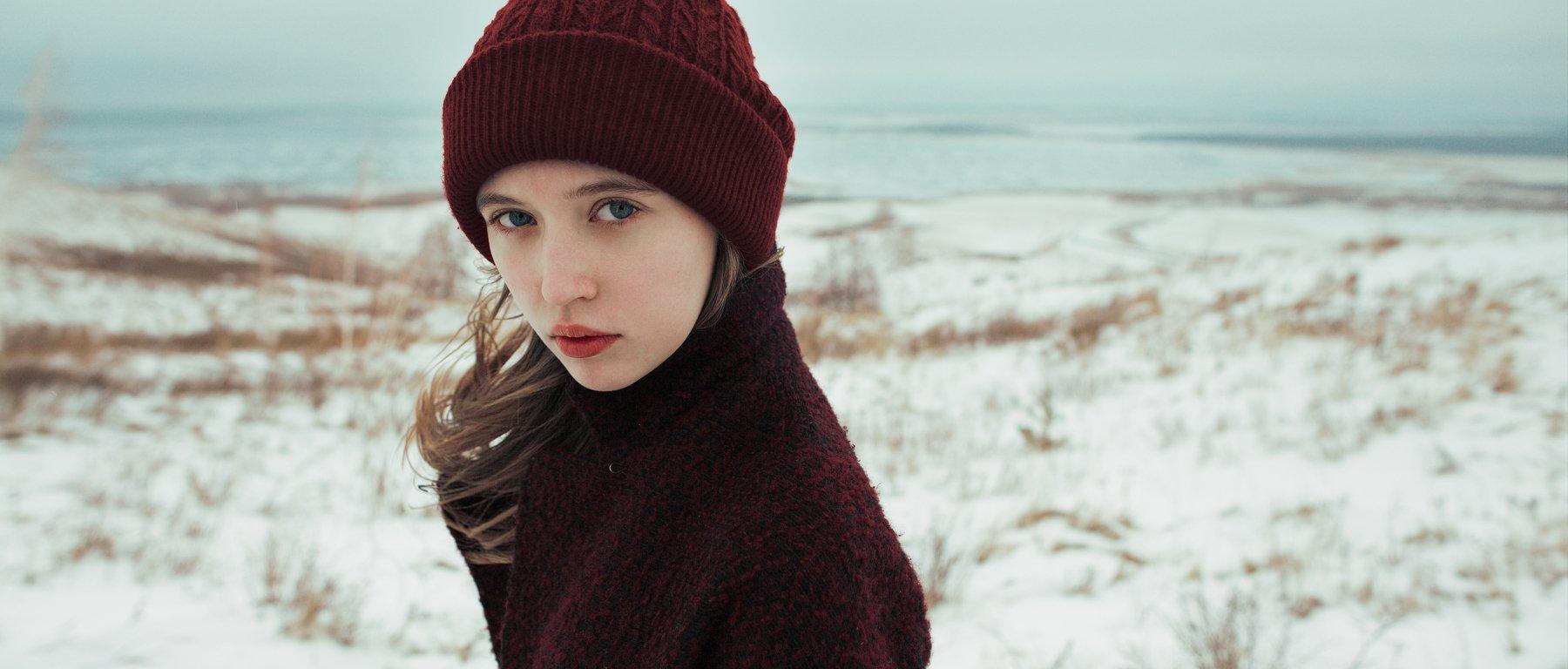 girl, nature, autumn, fall, snow, november, russia, Роман Филиппов