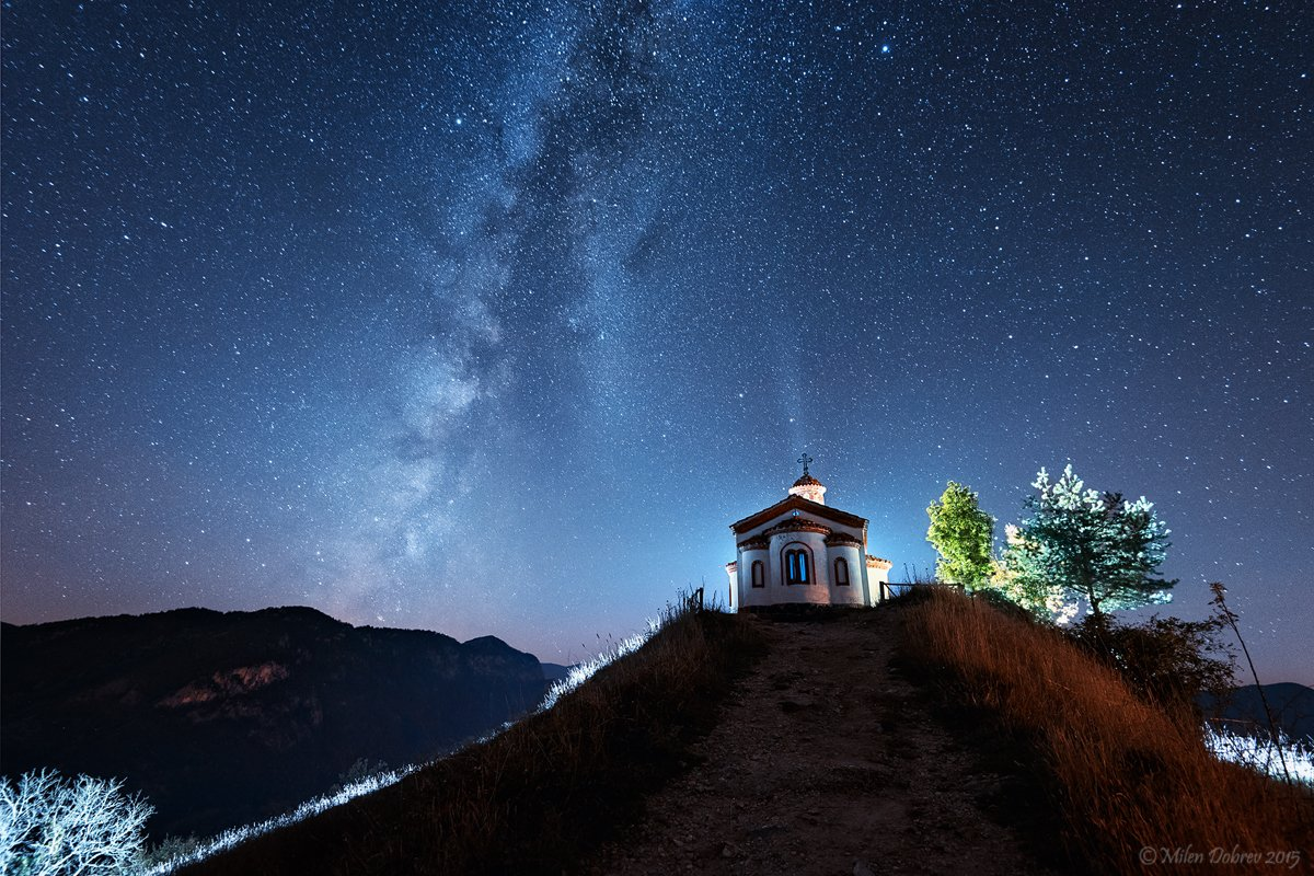 Milky way, landscape, night, Bulgaria, Rhodopi mountain, stars, Милен Добрев