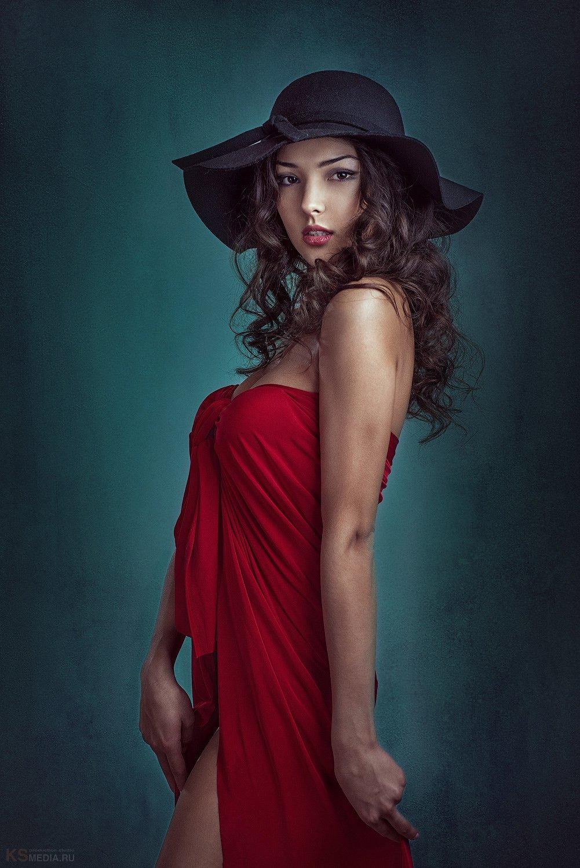 Beautiful, Cute, Girl, Hat, In red, Model, Red, Шляпа, Сергей Калабушкин