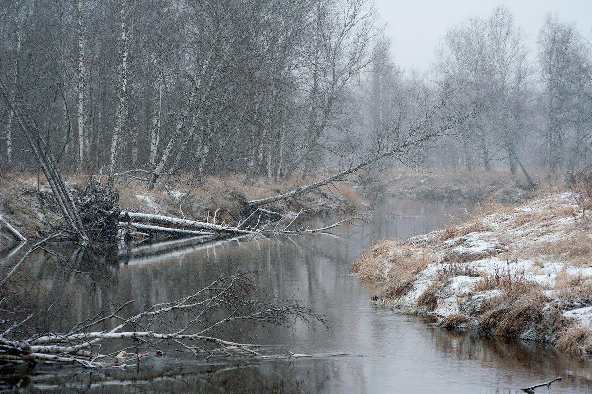 Зима, Мещёра, Предзимье, Река, Рязанская область, Снег, Валерий Пешков