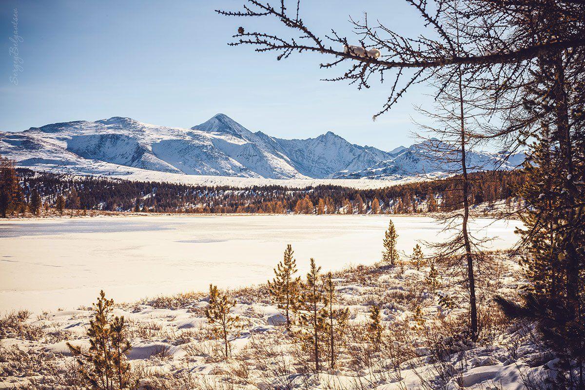 горный, алтай, улаганские, перевал, озеро, киделю, зима, снег, горы, вершины, лёд, Сергей Белявцев