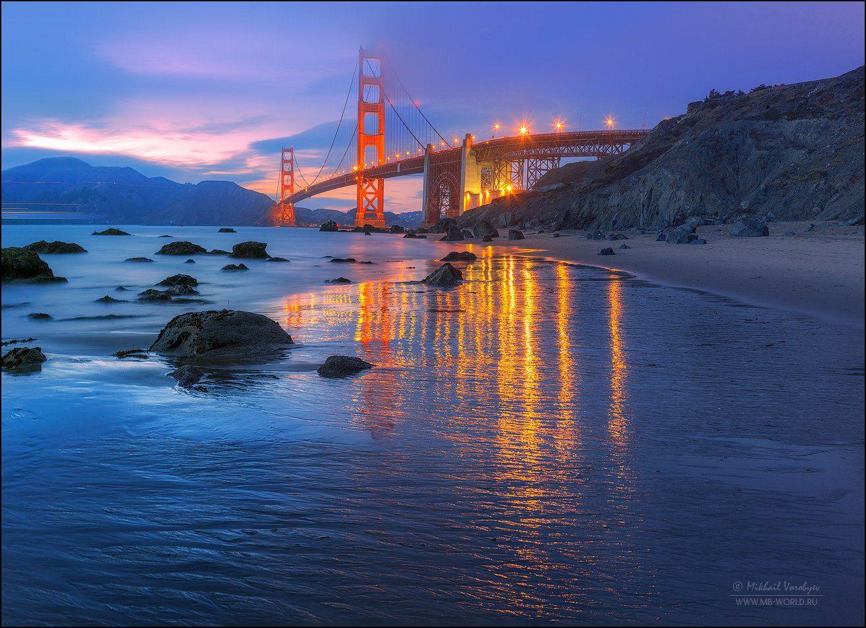 США, Сан-Франциско, Калифорния, мост, закат, отражения, город, Золотые ворота, Golden gate, , Михаил Воробььев