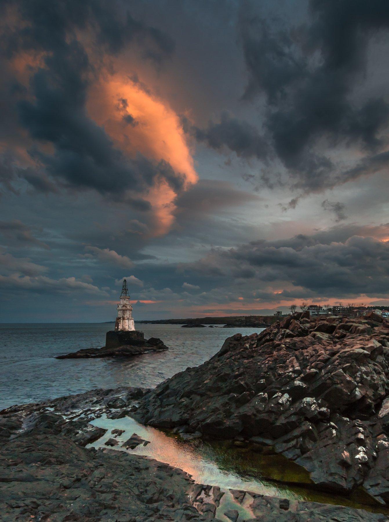 sunset,lighthouse, rocks, reflections, clouds, bulgaria, Jeni Madjarova