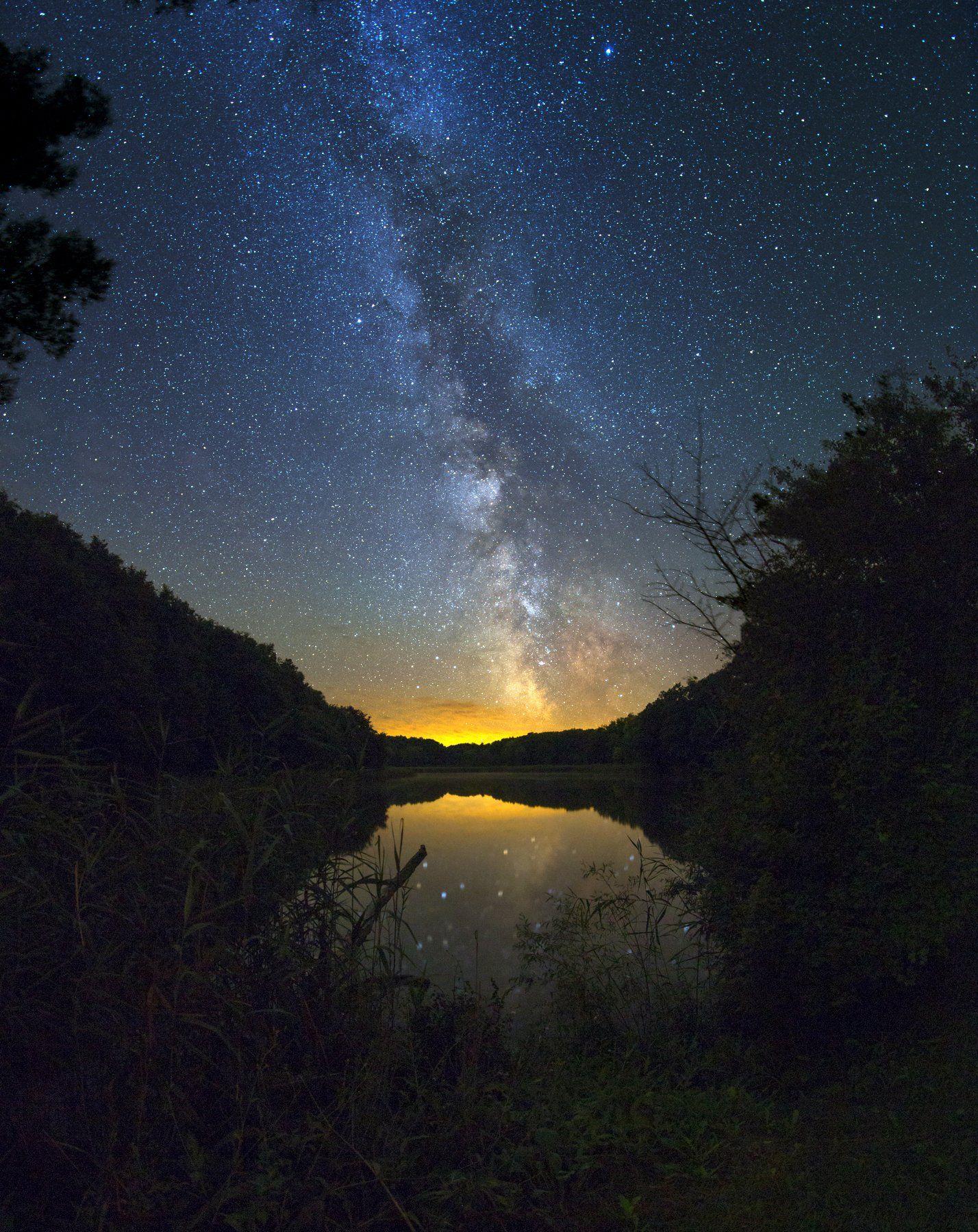 Ночь, небо, Млечный путь, звезды, отражение, озеро, берег, Валентин Гайдай