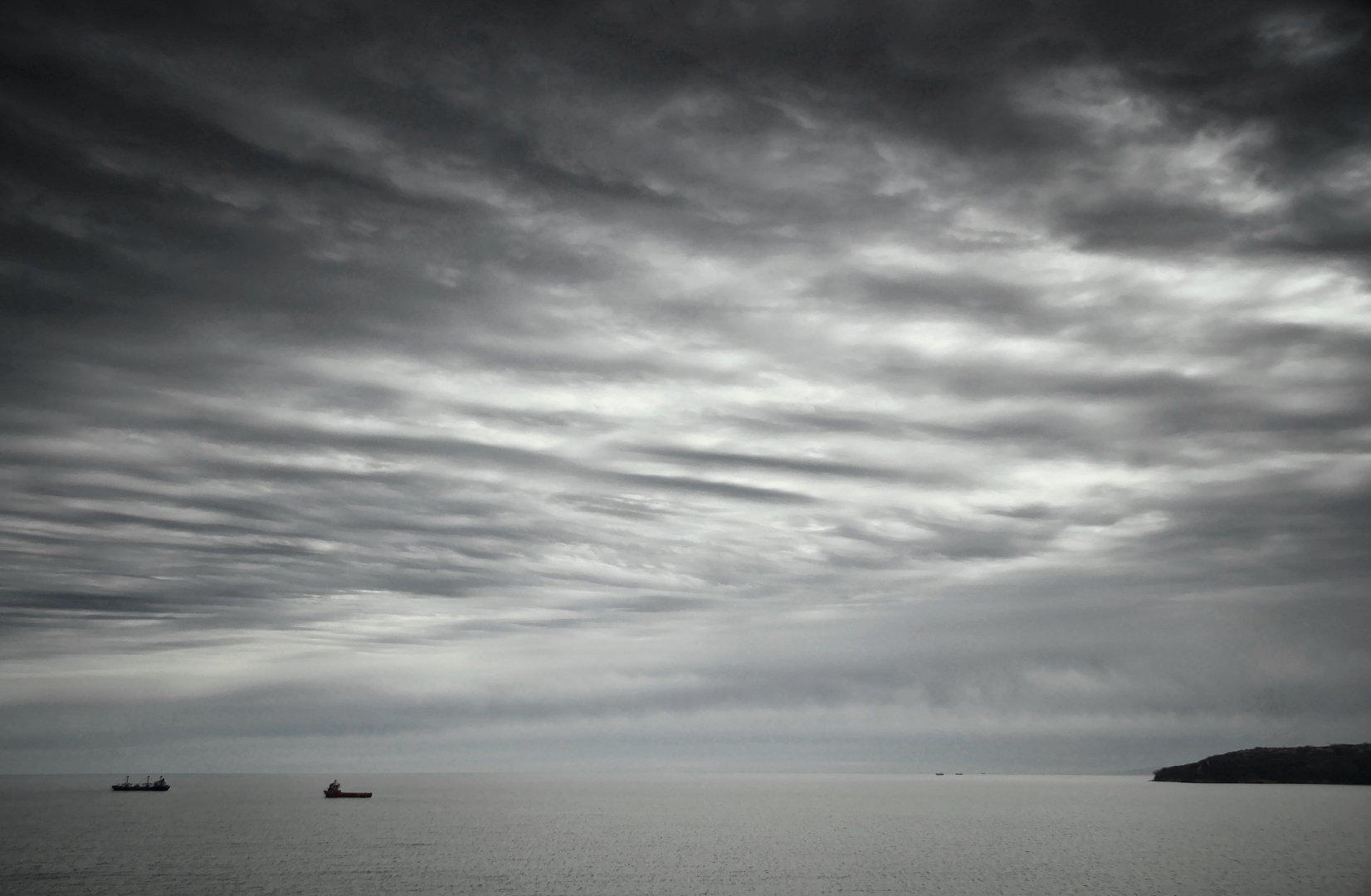 boat, ships, clouds, Мартин Костадинов
