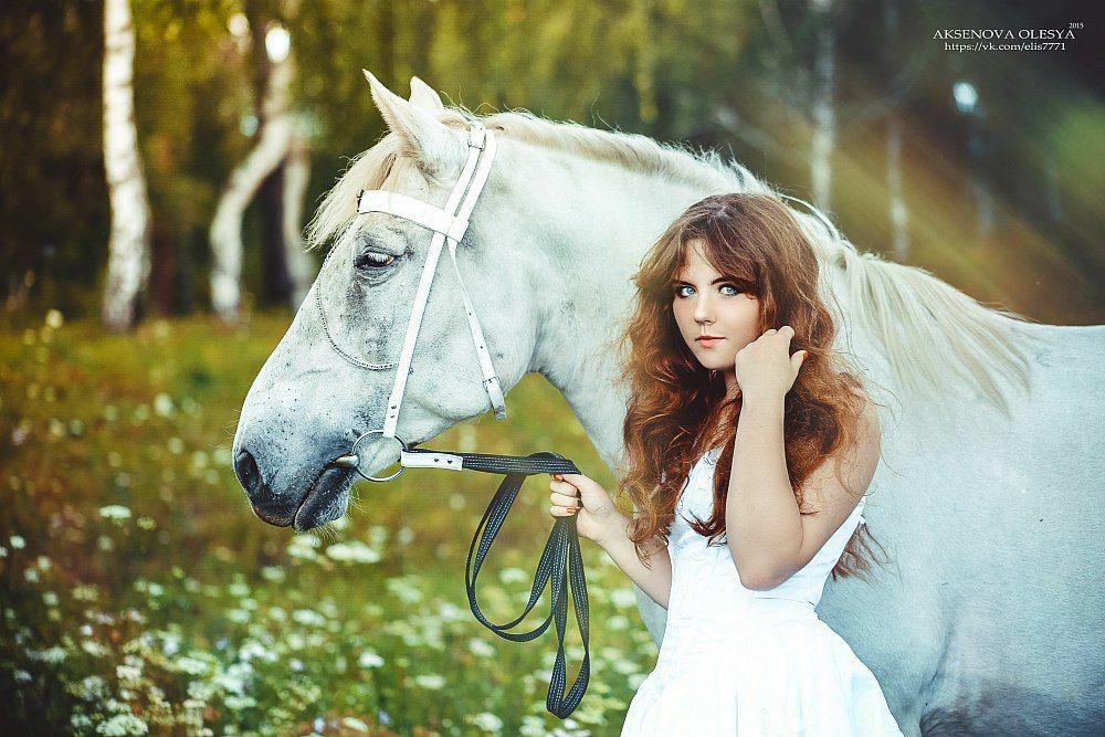 Девушка, Девушка с лошадью, Лето, Съемка с лошадьми, Цветы, Аксёнова Олеся