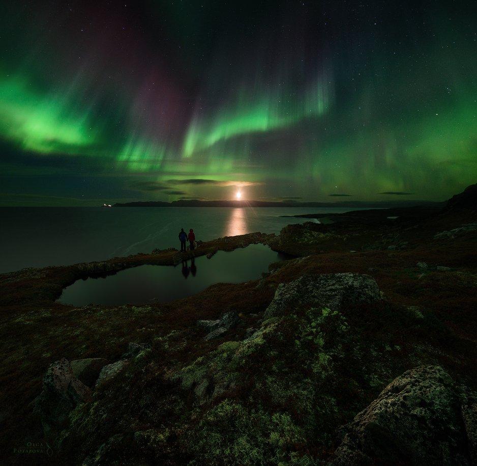 Aurora borealis, Баренцево море, Восход, Кольский полуостров, Луна, Ночной пейзаж, Северное сияние, Териберка, Тундра, Ольга Потапова