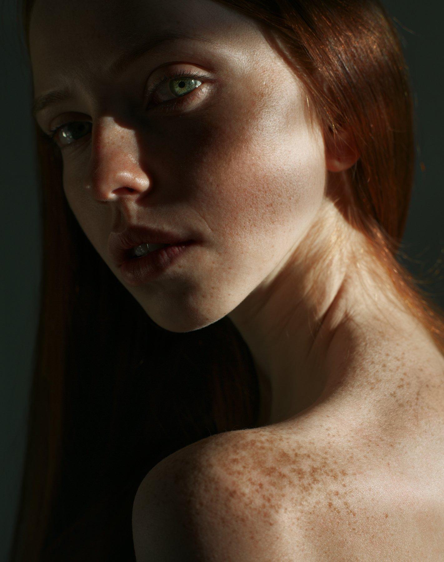 girl, portrait, ginger, freckles, green, eye, color, red, , Роман Филиппов