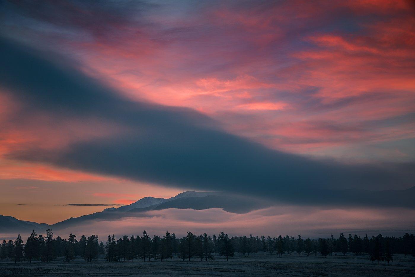 пейзаж, природа, утро, восход, рассвет, небо, облака, туман, красный, синий, розовый, горы, алтай, сибирь, красивая, высокий, большой, Дмитрий Антипов