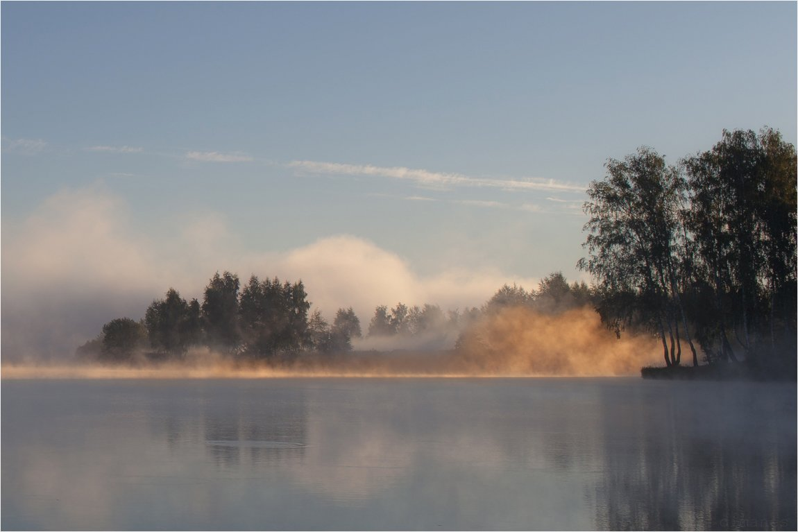 Лето, Озеро, Природа, Рассвет, Туман, Дмитрий