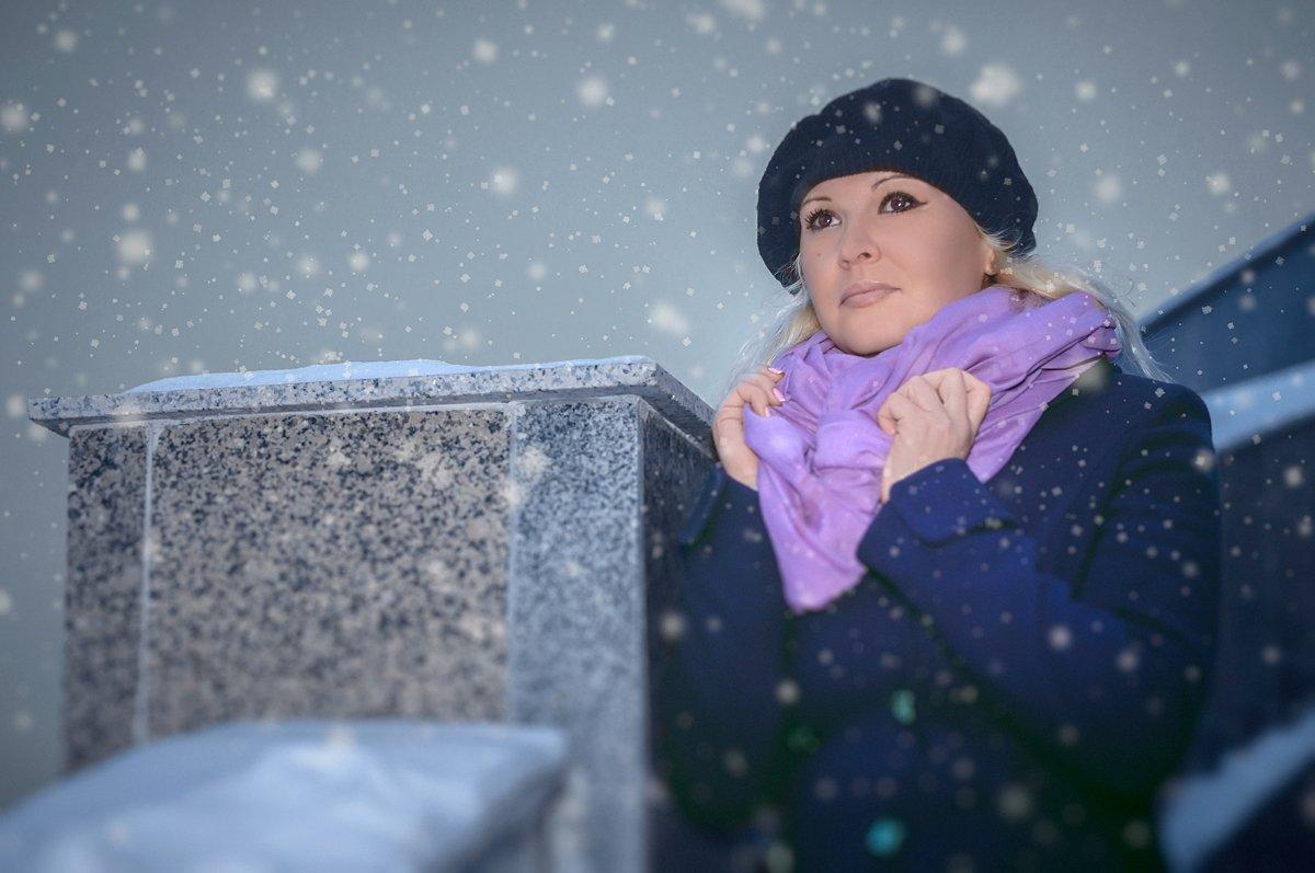 Портрет, зима,снегопад, Aндрей Гусев