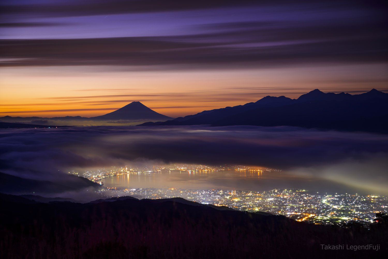 Fuji,mountain,cloud,purple,pink,lake,night,dawn,Japan,light,, Takashi