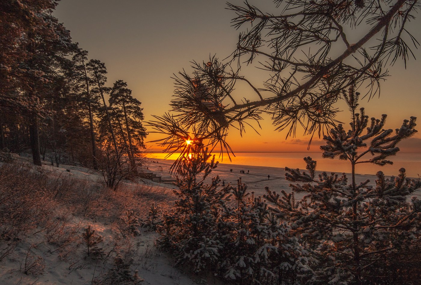 Закат, Зима, Усть-Нарва, Эстония, Kljuchenkow Aleksandr