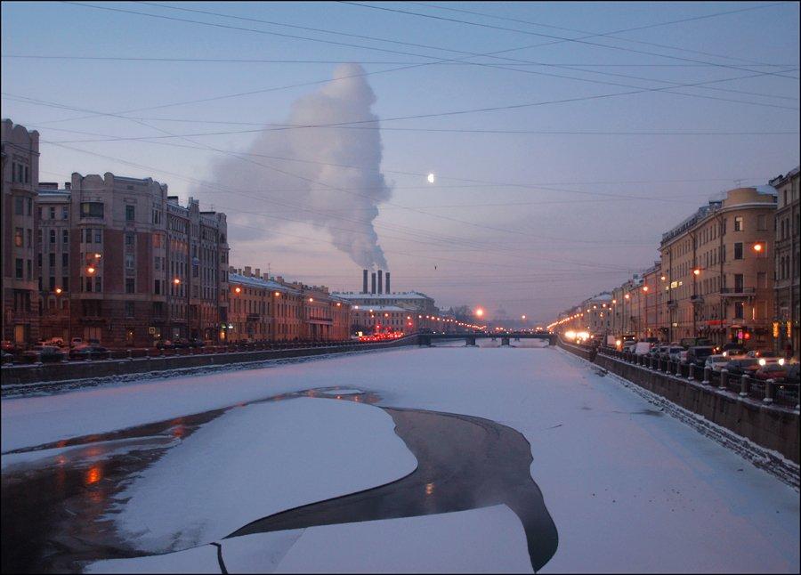 зимнее утро, река Фонтанка, Санкт-Петербург, Андрей Литов