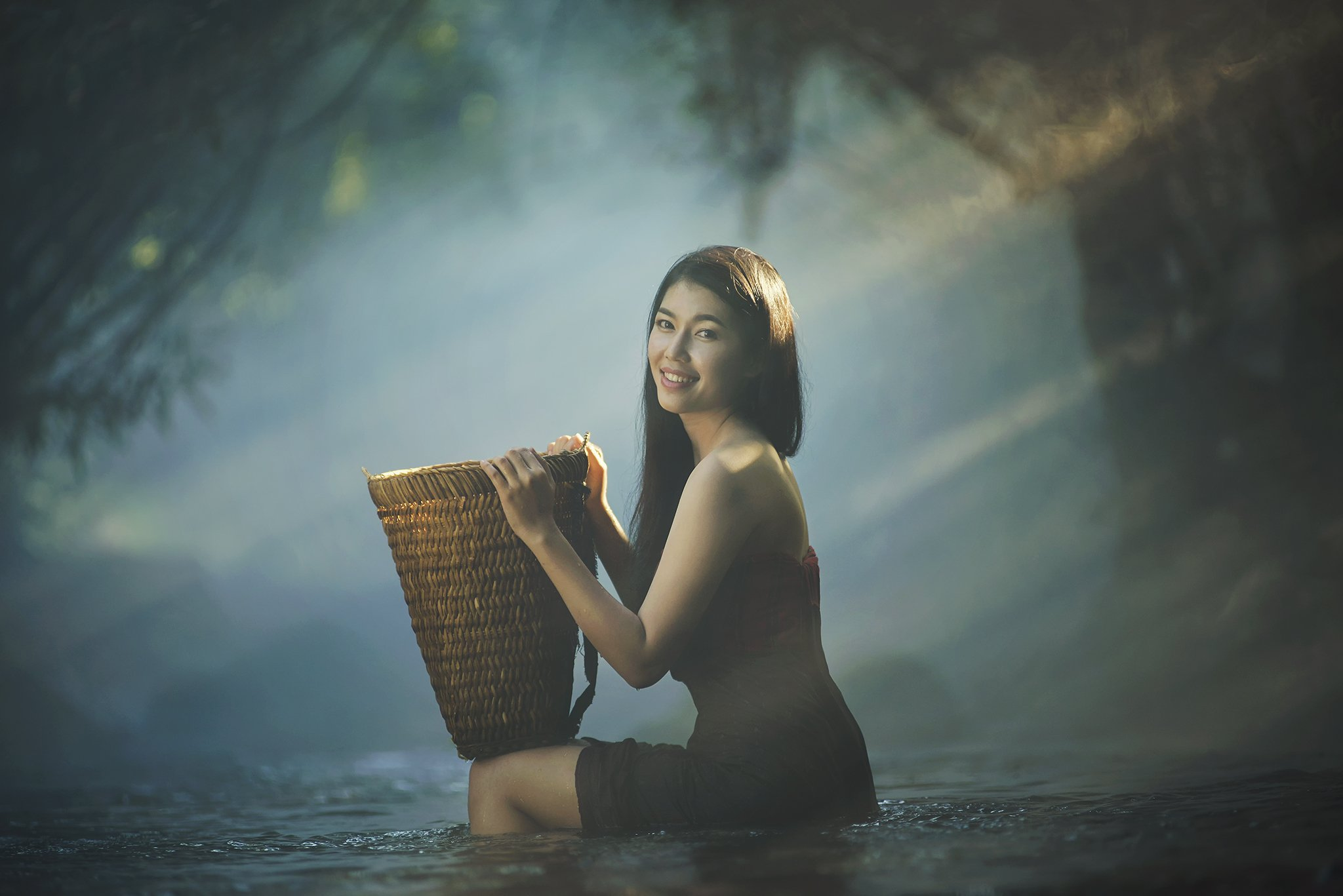 Asia, Asian, Beautiful, Girl, Holiday, Light, River, Thai, Thailand, Water, Waterfall, Woman, Saravut Whanset