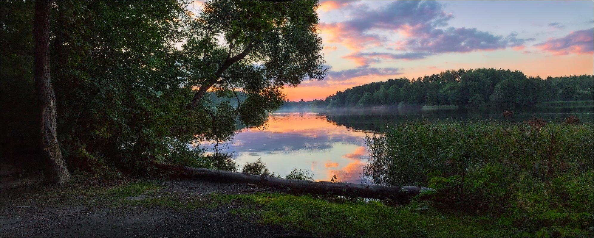 август, закат, лето, река птичь, Сергей Шабуневич