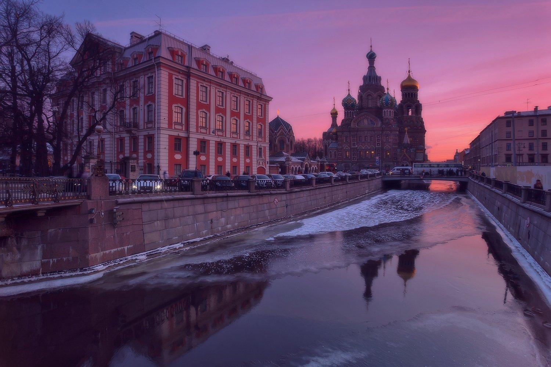 город, городской пейзаж, зима, питер, река, церковь, Таня She (Aiya)