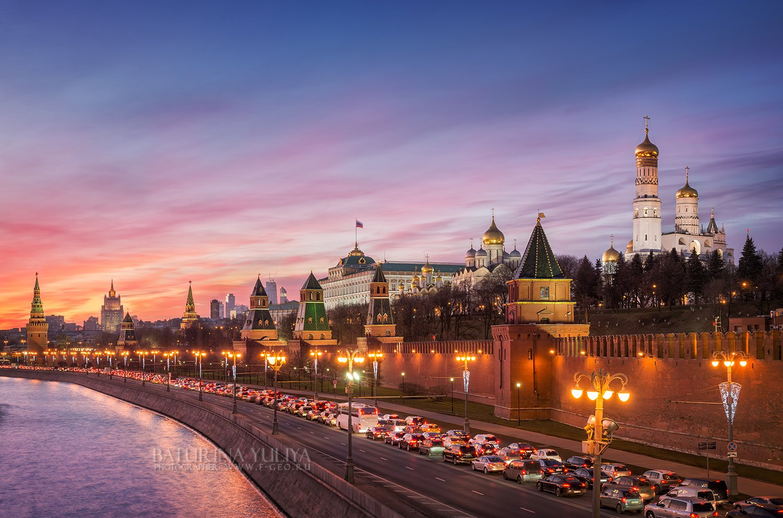 Кремль, Москва, вечер, закат, затор, авто, Москва-река, вечерняя Москва, Юлия Батурина