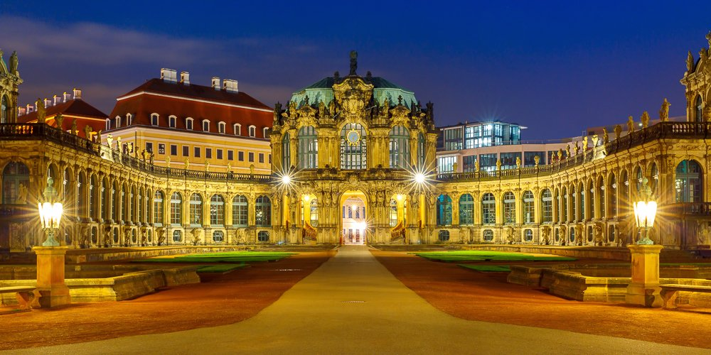 Zwinger, Dresden, Saxony, Germany, europe, night, medieval, town, blue hour, gold, german, central europe, wallpavillon, museum, palace, Rococo style, panorama, deutschland, pavilion, place, Коваленкова Ольга