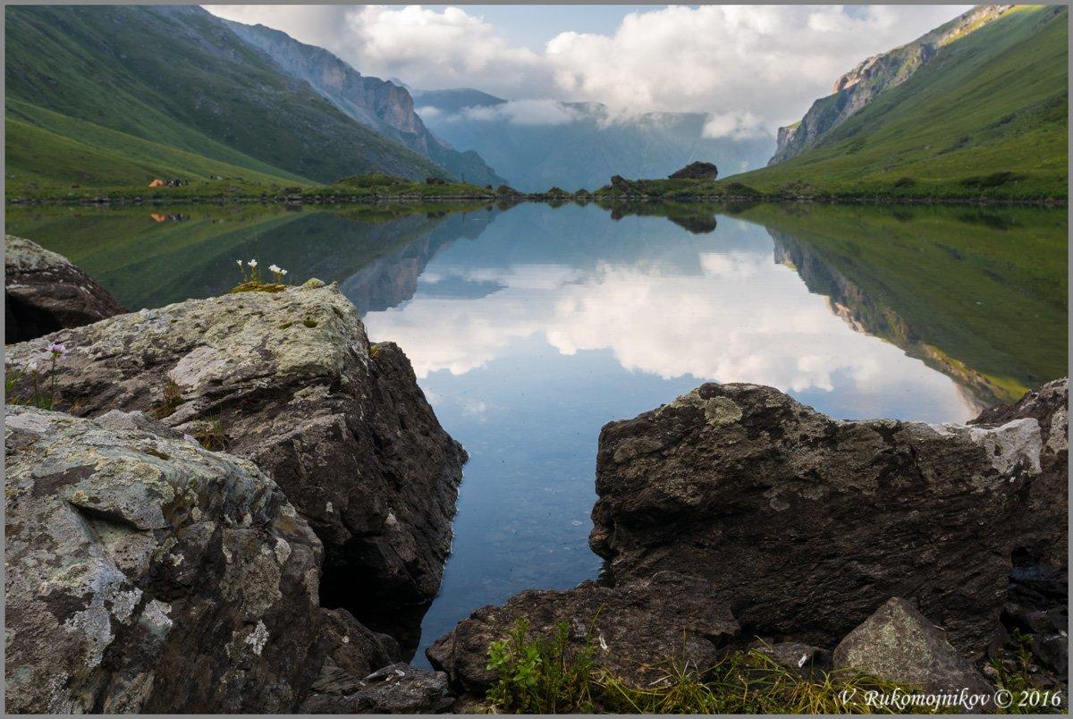 Lake, Landscape, Mountains, Stones, Summer, Sunset, Water, Рукомойников Валентин