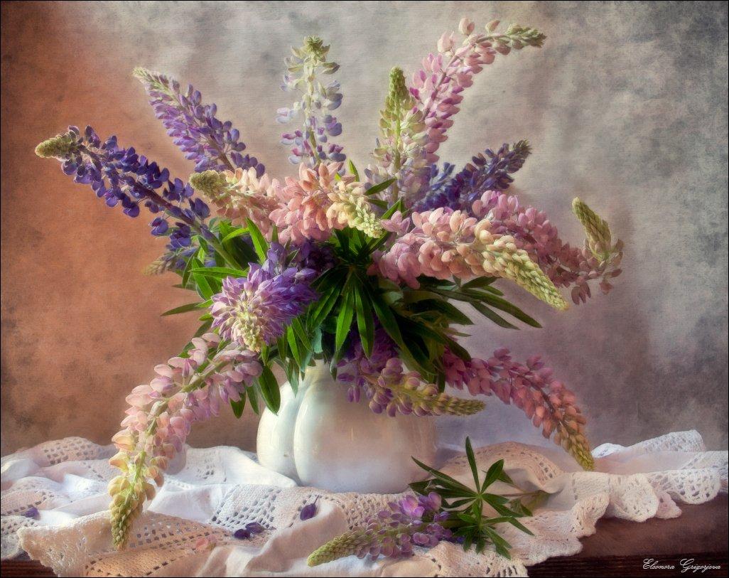 лето, люпины, натюрморт, Eleonora Grigorjeva