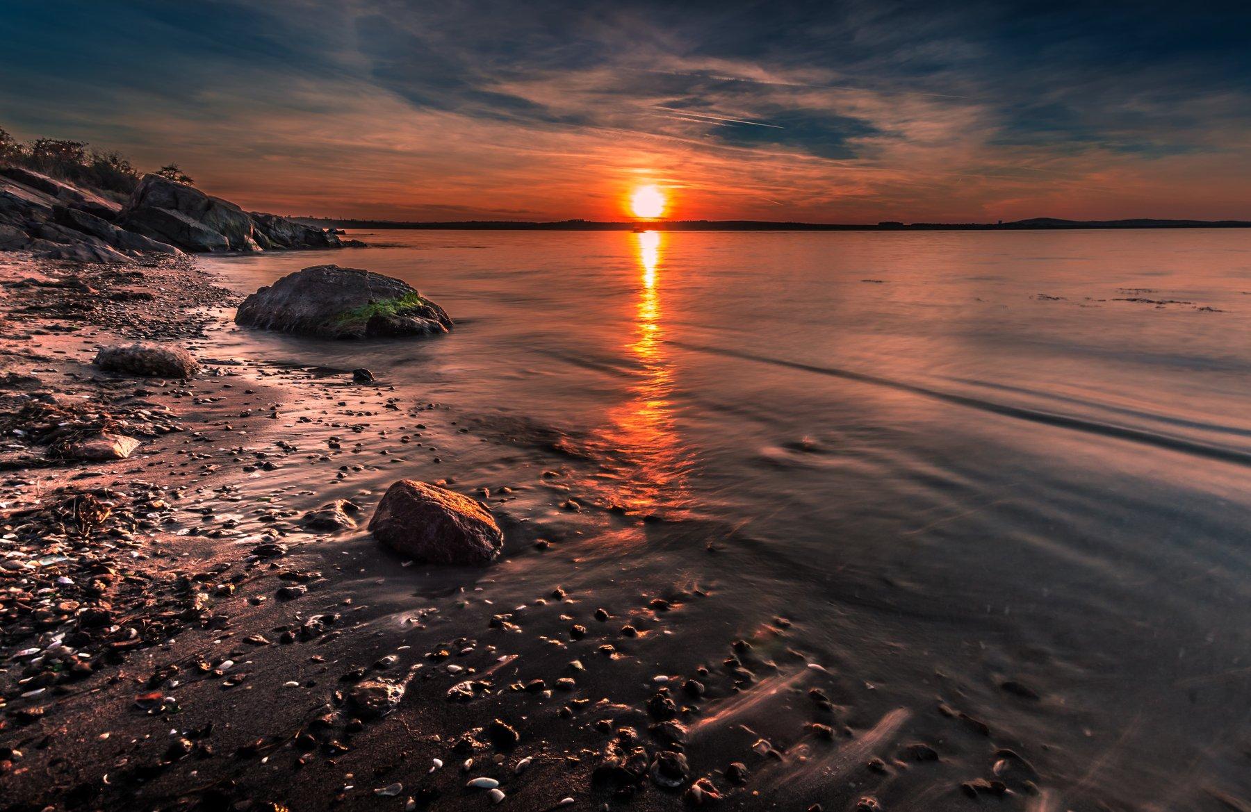 sunset, dark, sand, sea, seascape, rocks, Jeni Madjarova
