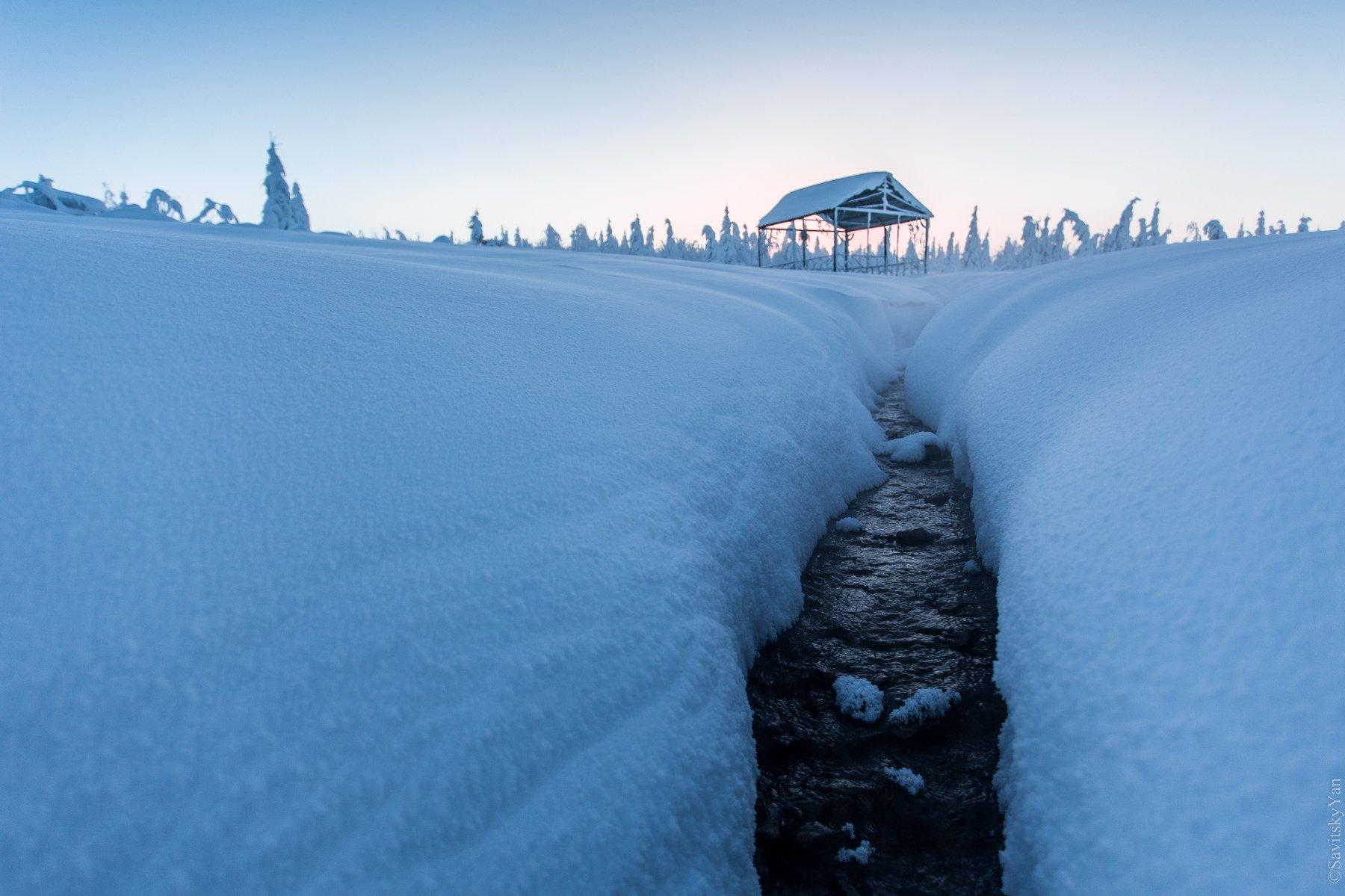 ручей, зима, снег, Савицкий Ян