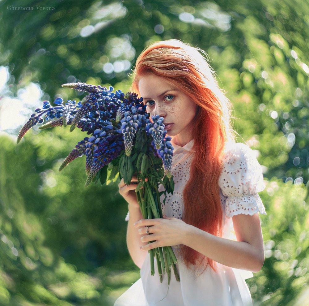 цветы, люпин, рыжая, девушка, портрет, Червона Ворона