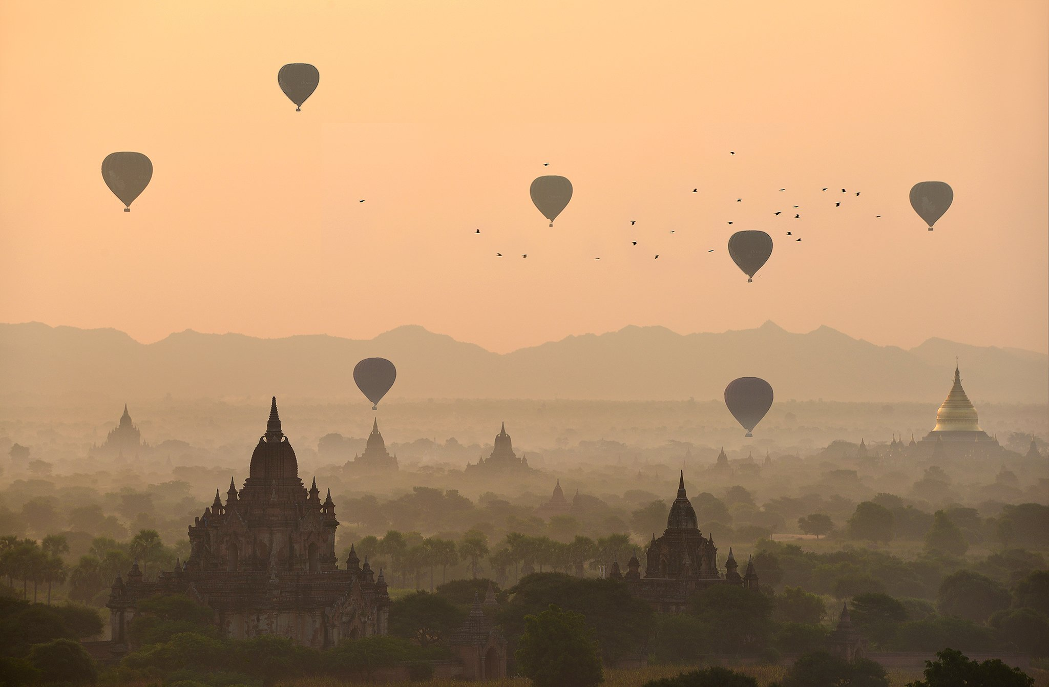 Adventure Ancient Architecture Bagan Built Structure Color Image Dawn Dusk Flying Fog Horizontal Hot Air Balloon Landscape Mandalay Division Mid-Air Myanmar Nature No People Old Ruin On The Move Orange Color Outdoors Photography Religion Scenics Silhouett, sarawut intarob