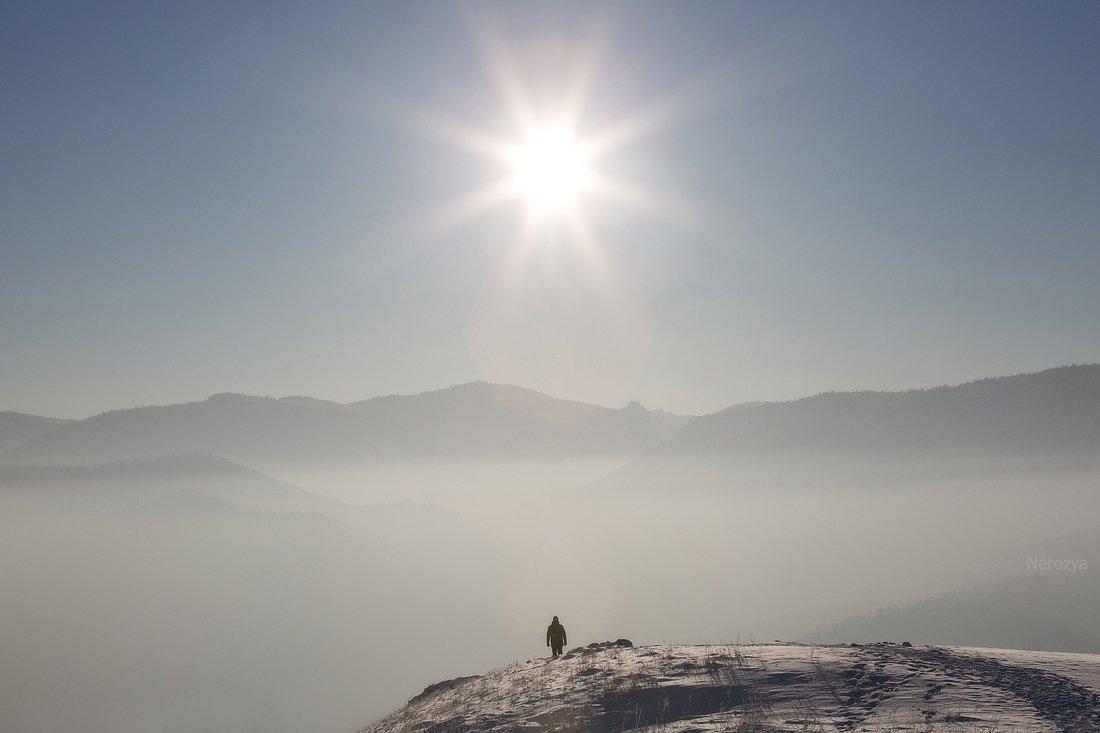 горы, поле, мороз, иней, снег, сибирь, нерозя, красноярск, один, пейзаж, зима, енисей, Александр 'Horimono' Нерозя
