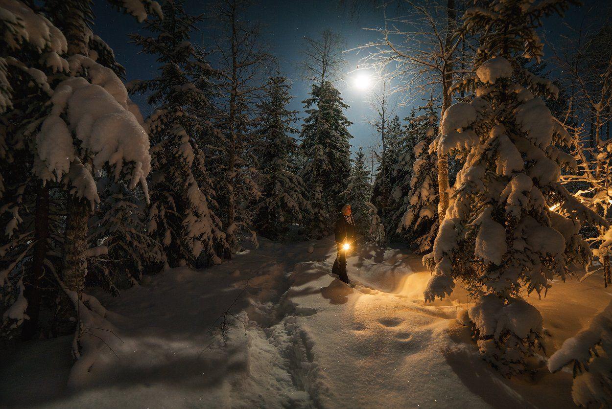 nature,пейзаж,дети,свет,луна,ночь,темнота,зима,красиво,звезды,landscape,stars,children,russia,north,light,forest,moon,night, Истомин Виталий