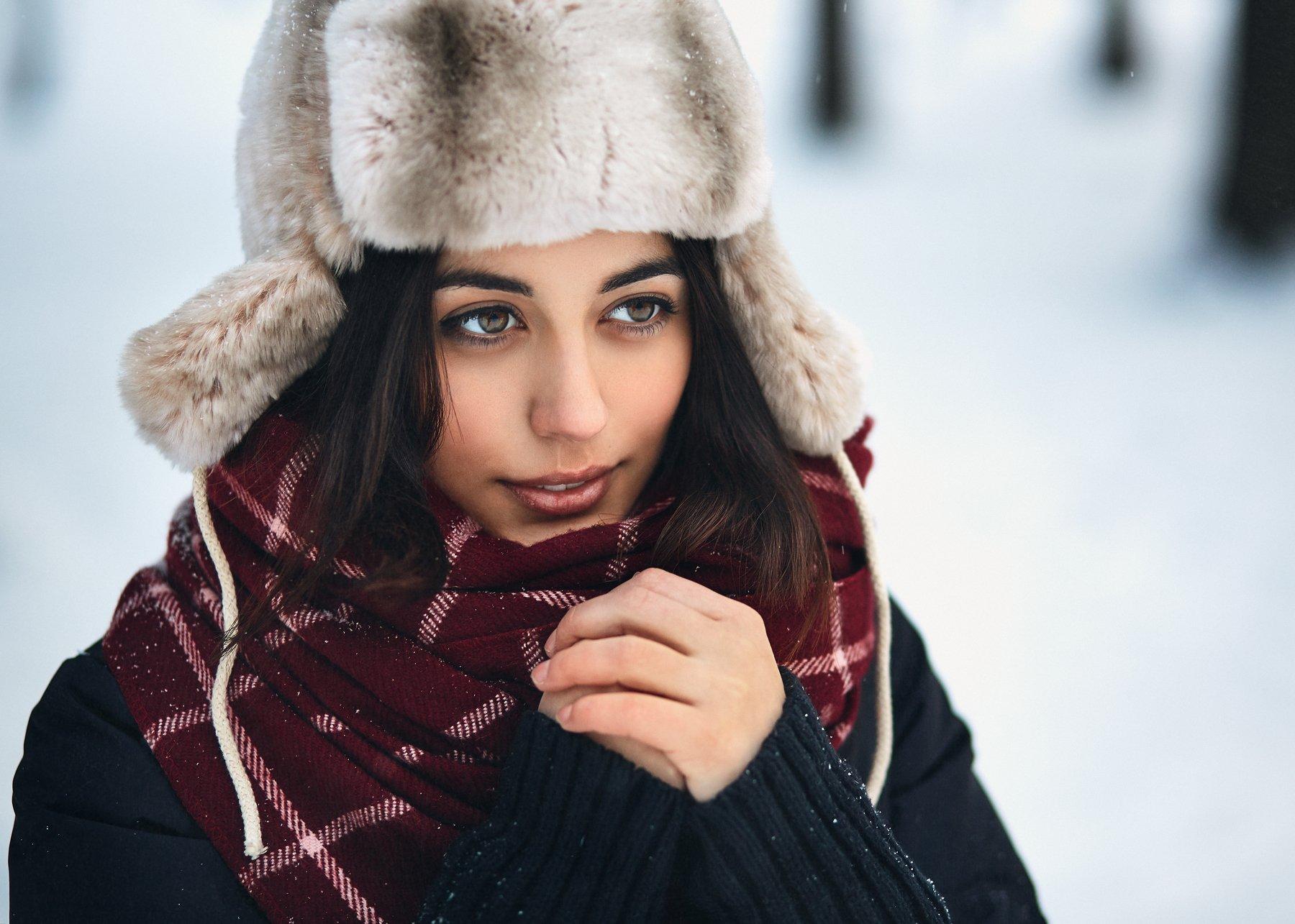 Девушка, Зима, Портрет, Холод, Цвелёв Дмитрий